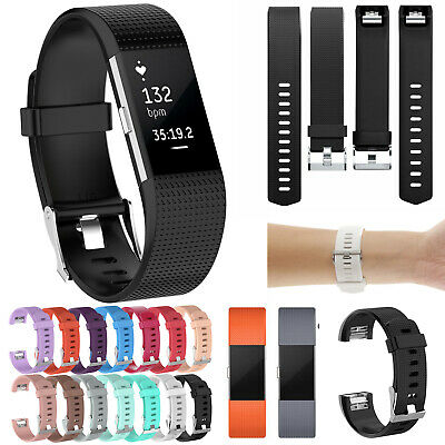 For Fitbit Charge 2 Strap Replacement Silicone Metal Buckle Watch Wrist Band UK