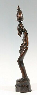 rare art deco wooden statue Balinese Women, carved female figure Bali Indonesia