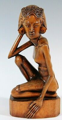 old, art deco wooden statue Balinese Women, carved female figure Bali Indonesia