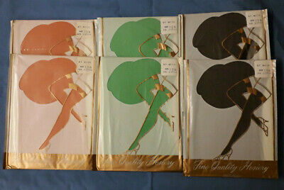 Six Pairs 100% Nylon DT Mesh Vintage Stockings Size 10 1/2 Various Colours
