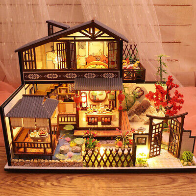 New 3D Wooden Dollhouses Ancient Town DIY Miniature Model Christmas Gifts Toys