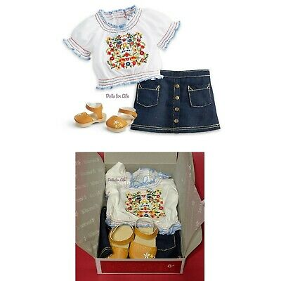 "American Girl Julie's Peasant Top 18"" doll Outfit Sandals denim Skirt NEW in BOX"