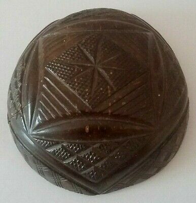 Half Coconut Carved End 19th