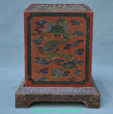 "10"" Old Chinese Wood Lacquerware Dragon Storage Official Seal Stamp Signet Box"
