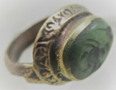 Beautiful Post Medieval Gold Gilded Islamic Ottomans Seal Ring With Stone