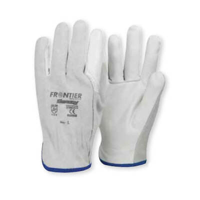 Frontier Swaggy Suede Leather Rigger Gloves, 25cm Length, White, Large - Pack of