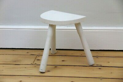 Vintage Half Moon Painted Milking Stool, 1960s