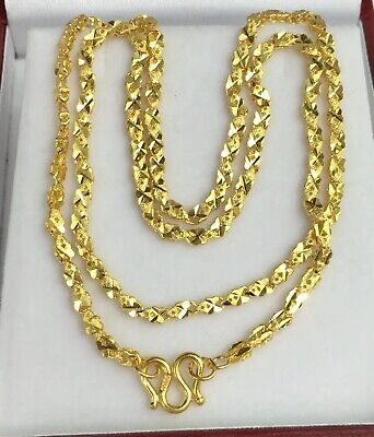 Pure 24k Solid Gold Shiny Chain Necklace. 18 Inches. 11.76Grams