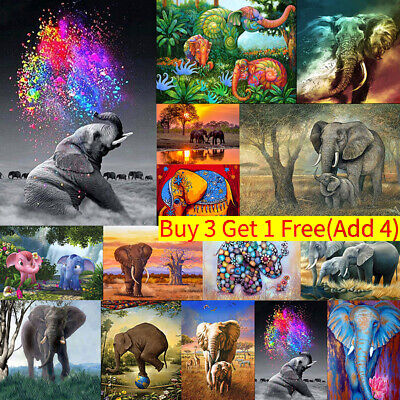 Elephant Full Drill DIY 5D Diamond Embroidery Painting Cross Stitch Room Art Kit