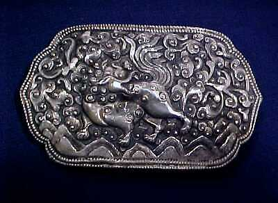 Antique Lg Chinese Export Qilin Mythical Beast Solid Silver & White Metal Buckle