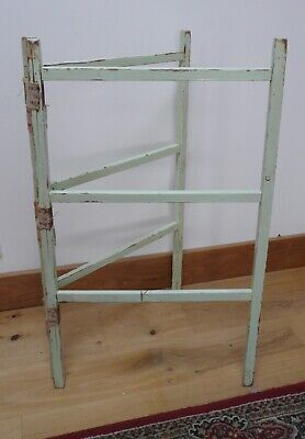 Old Vintage Antique Wooden Clothes Airer - Green