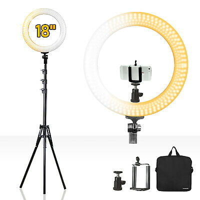 """LED Dual Color Dimmable 18"""" Ring Light with Tripod Adapter and Light Stand"""