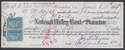 1901 National Valley Bank of Staunton, Virginia Bank Check -- w/ Revenue Stamp