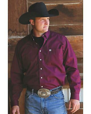 Cinch Men's C&Zwnj;Inch Solid Burgundy Button Long Sleeve Western Shirt -
