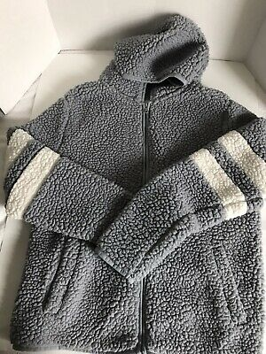 "Women ""SO"" from Kohls Gray Faux Sherpa Hoodie Jacket Zip Up w/Pockets Large"