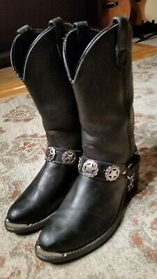 Double H Vintage Black Leather Harness Motorcycle Boots Men's Size 9Eee