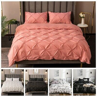 Pintuck Duvet Set Cotton Quilt Cover Single Double Super King Size Bedding Suply