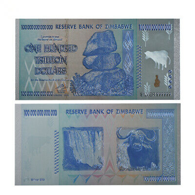 RHCN 1pc One Hundred Trillion Dollar Zimbabwe Silver Banknote As Colletion Gifts