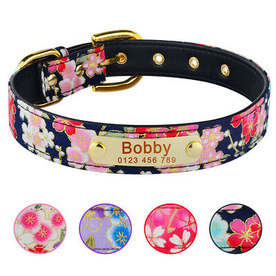 Personalised Flower Dog Collar Engraved ID Tag Name Pet Cat Puppy Soft Padded