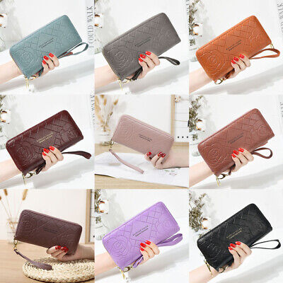 Lady Rose Wallet Long Large-Capacity Zipper Clutch Double-Layer Mobile Phone Bag