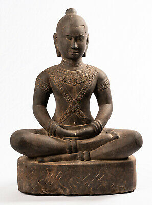 Antique Khmer Style Stone Meditation Royal Jayavarman VII Statue - 49cm/20""