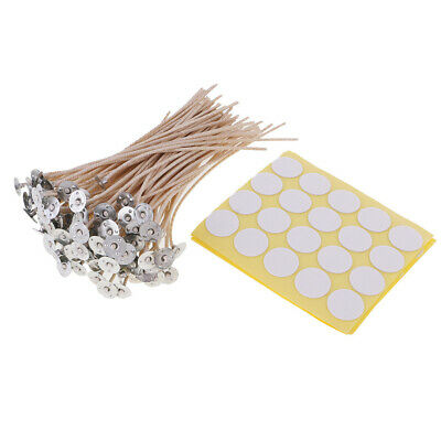 100pcs Candle Wicks Pretabbed Pre Waxed with Sustainers and Stickers Multi-sizes