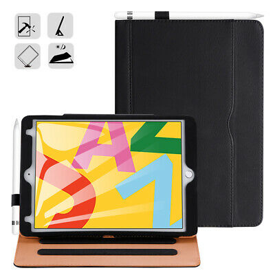New iPad 7th Generation Tablet Soft Leather Case 10.2-inch 2019 with Pencil Hold