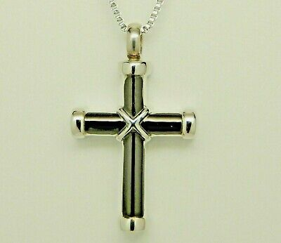 Black & Silver St. Andrew's Cross Urn Necklace | Religious Ashes Holder Jewelry
