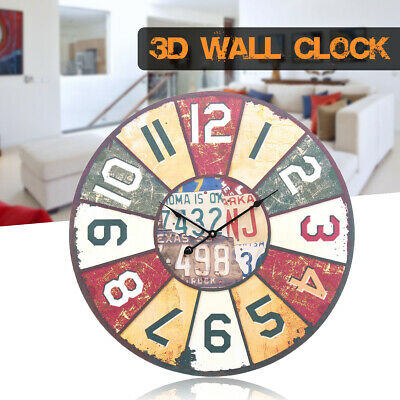 Large Vintage Rustic Wall Clock Shabby Chic 58CM Antique Wooden Home Art Decor