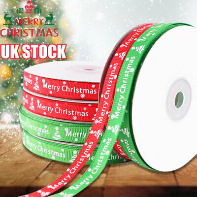 22 M Happy Merry Christmas Ribbons Snowflakes Ribbon Gifts Wrapping Party Decor