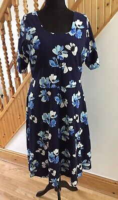 Ladies Cotton Traders Fit And Flare Thick Stretchy Floral Flatter Dress Size 18