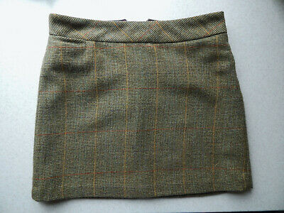 🔻Joules Heather Tweed 100% Wool Toad Green Check Skirt Size UK 12