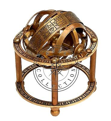 Collectible Antique Brass Armillary Sphere Maritime Nautical Astrolabe Globe
