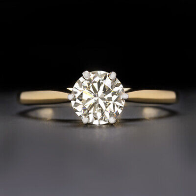 1 Carat Natural Diamond Engagement Ring Clean Round Cut Solitaire Gold Classic