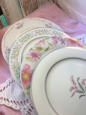 4 Vintage Mismatched China Dinner Plates Pink Wedding Baby Shower Tea Party #266