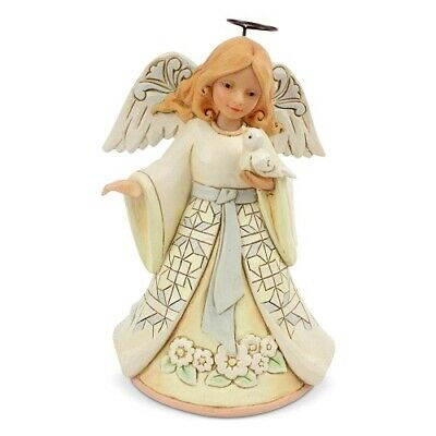 "Jim Shore Heartwood Creek Pint Size #4060961 WHITE WOODLAND ANGEL /""FAITHFUL...5/"""