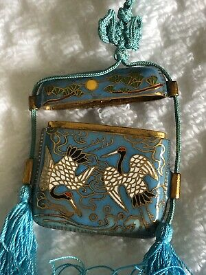 Vintage/Antique Chinese Or Japanese Cloisonne Inro Box With Silk(?) Tussel