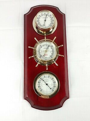 Vtg Sunbeam Wall Hanging Weather Station Thermometer Barometer Humidity Nautical