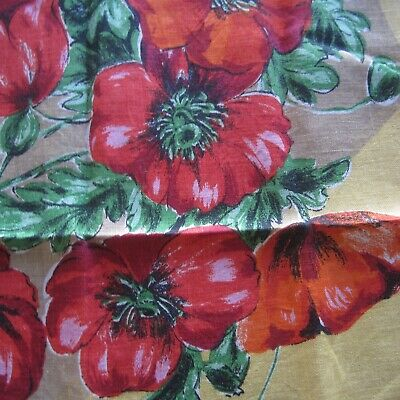 Yellow Red Poppy Vintage Cotton Tea Towel 1960s Retro Bright Floral Fabric