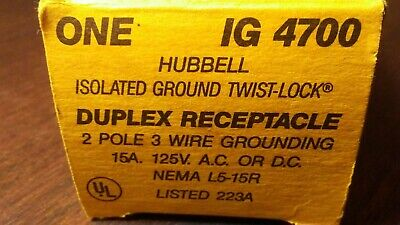 Hubbell Isolated Ground Twist-Lock Duplex Receptacle IG 4700 15A 125v 3w