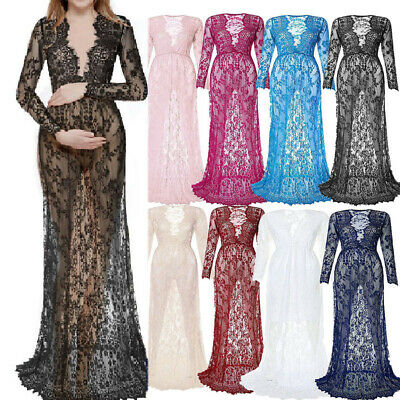 Women Fashion V Neck Long Sleeve Maternity Gown Lace See-through Solid Dresses