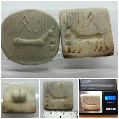 (44 mm)Ancient Indus valley Unique Goat Seal Intaglio inscription stone stamp #2