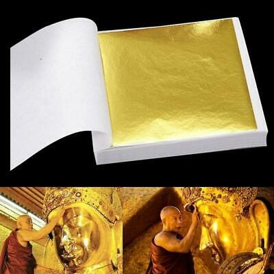100Pcs Art Craft Gold Leaf Sheets Foil Paper for Gilding Framing DIY Decoration