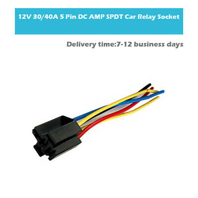 12V Volt 30A 40A Amp 5 Pin Truck Auto Relay 5 Wire Harness Socket Plug Universal