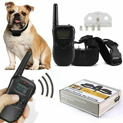 US Electric Dog Shock Collar With Remote Waterproof Large 328 Yard Pet Training