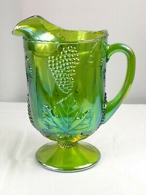 Vintage Antique Indiana Glass Iridescent Green Large Heavy Footed Pitcher Grapes