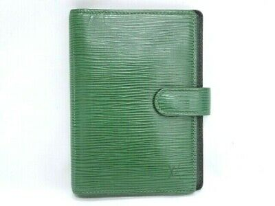Auth LOUIS VUITTON Agenda Cover PM Epi 6 Rings Green Leather Spain 15160344300 G