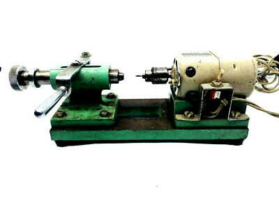 VINTAGE TOOL WATCHMAKERS & JEWELLERS BENCH LATHE Drill  W/ COLLET closer slide