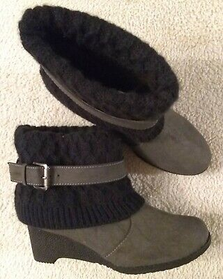 MUKLUKS size 7 Gray  Synth Slouch Sweater-Knit Cuff Warm Lined Ankle Boots