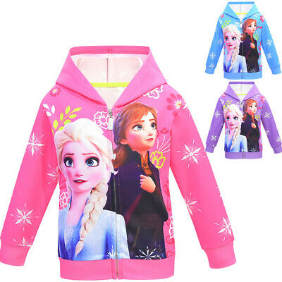 Frozen 2 Kids Girls Hoodie Coat Jacket Cover Up Zipper Hooded Cardigan Age 2-8